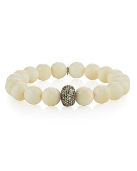 Sheryl Lowe Beaded White Bone Bracelet w/ Diamond Donut