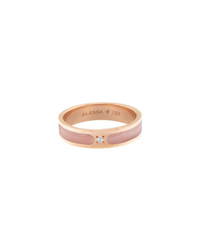 Spectrum Painted 18k Rose Gold Stack Ring w/ Diamond  Size 7.5