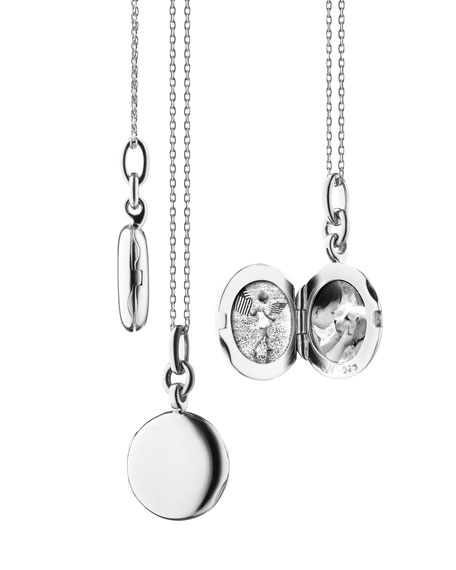 Monica Rich Kosann Sterling Silver Round Locket Necklace