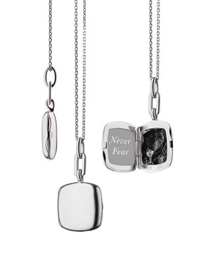 Sterling Silver Slim Cushion Locket Necklace