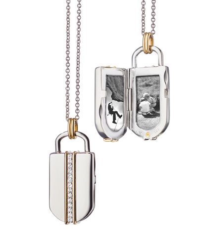 18K Yellow Gold & Sterling Silver Lock Locket Necklace
