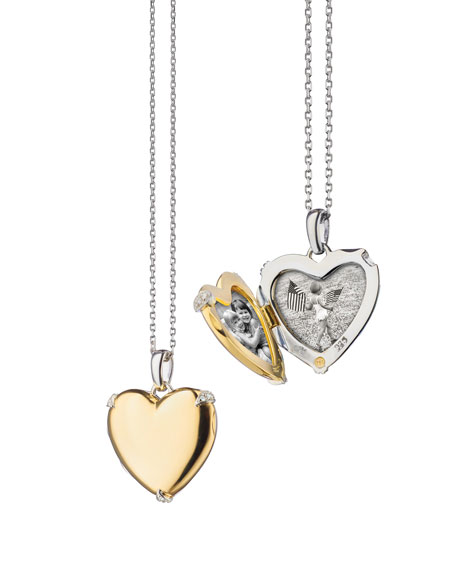 Image 1 of 1: 18K Yellow Gold & Sterling Silver Heart Locket Necklace w/ Diamond Accents