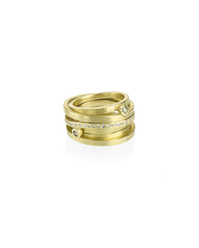 18k 6-Row Ring w/ Diamonds  Size 6.5