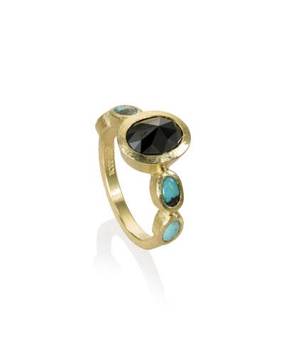 18k Black Diamond & Turquoise Ring  Size 6.5