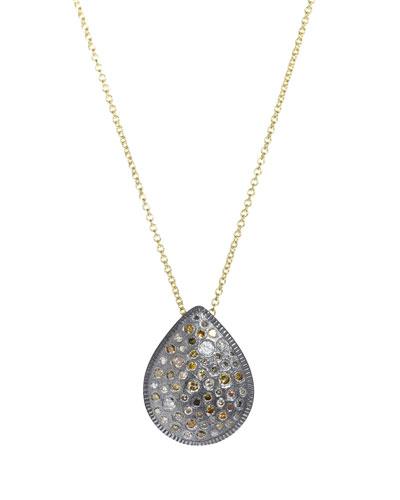 Two-Tone Diamond Pear Pendant Necklace