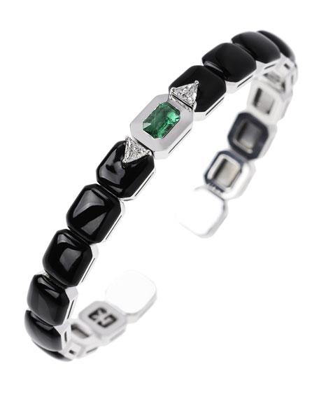 Nikos Koulis 18k White Gold Split Diamond, Emerald & Black Enamel Bracelet