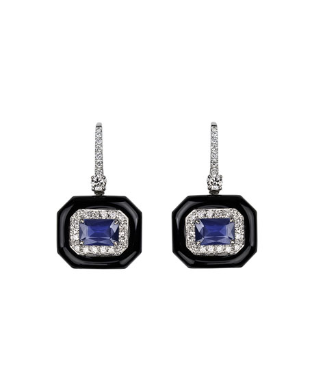 Nikos Koulis 18k White Gold Oui Diamond & Sapphire Earrings, 0.56tcw