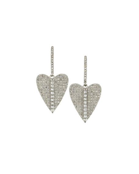 Sheryl Lowe Pave Diamond Folded Heart Earrings