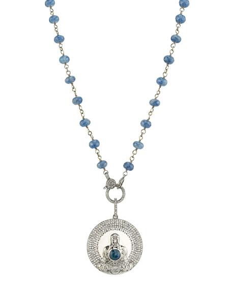 Sheryl Lowe Diamond Buddha Pendant Necklace w/ Sapphires