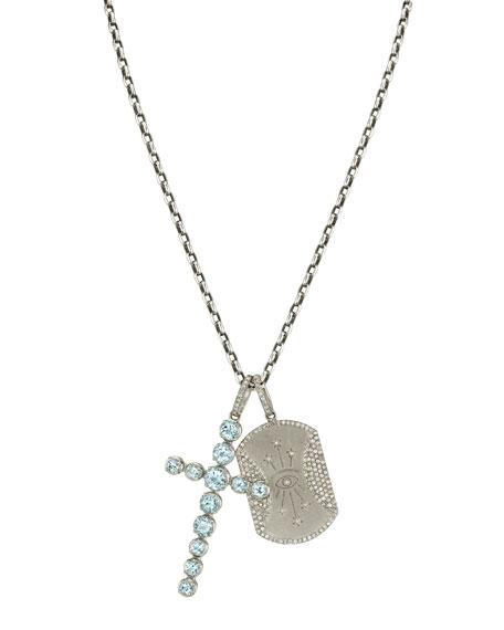 """Sheryl Lowe Aquamarine Cross & Seeing Eye Dog Tag Necklace. 42""""L"""
