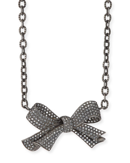 Siena Jewelry Diamond Pave Bow Necklace