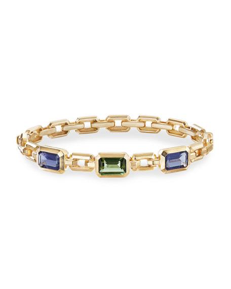 David Yurman Novella 3-Stone Bracelet w/ Iolite & Tourmaline, Size M