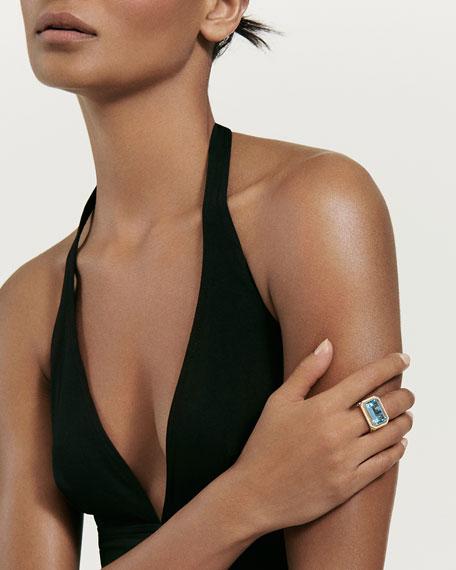David Yurman Novella 18k Gold 16mm Blue Topaz Ring w/ Diamonds, Size 9