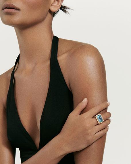 David Yurman Novella 18k Gold 16mm Citrine Ring w/ Diamonds, Size 6