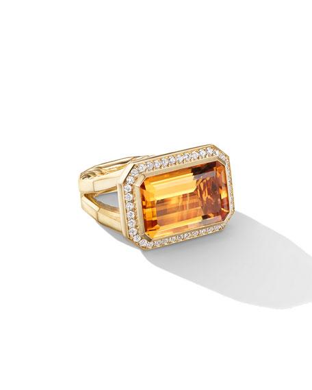David Yurman Novella 18k Gold 16mm Citrine Ring w/ Diamonds, Size 9