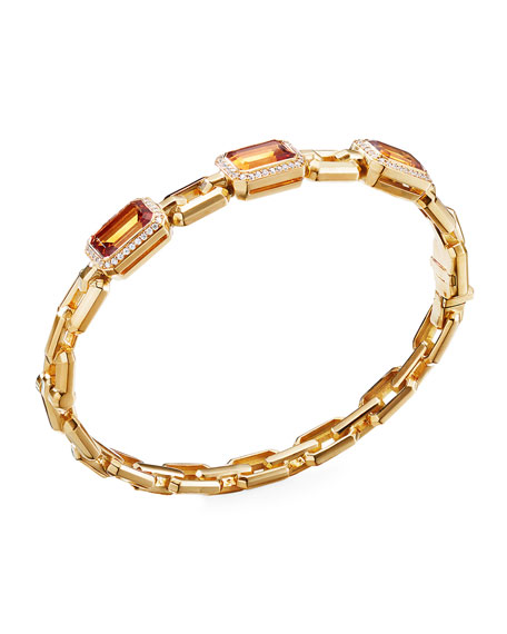 David Yurman NOVELLA 3-STONE BRACELET W/ DIAMONDS, CITRINE