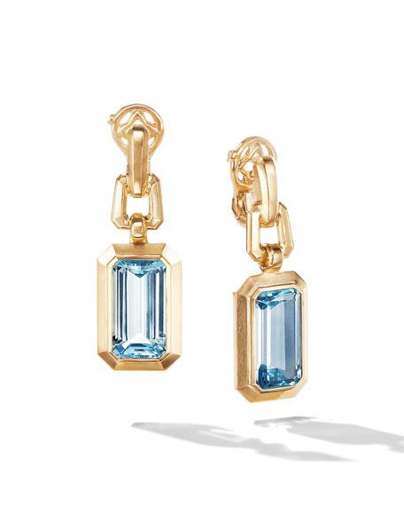 David Yurman Novella 18k Gold 19mm Blue Topaz Drop Earrings
