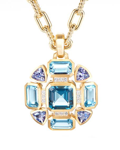 David Yurman Novella Mosaic Topaz & Tanzanite Pendant w/ Diamonds
