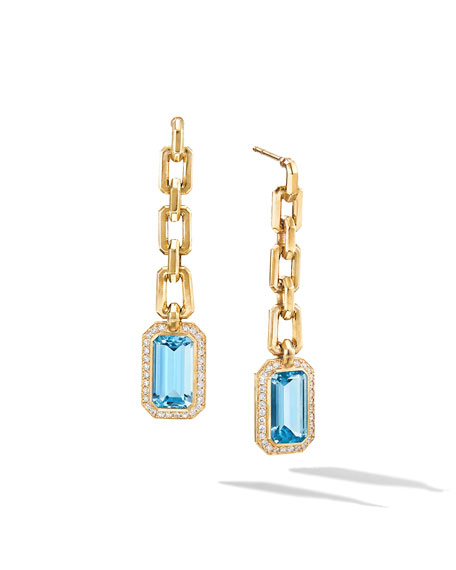 David Yurman Novella 18k Gold Blue Topaz Drop Earrings w/ Diamonds