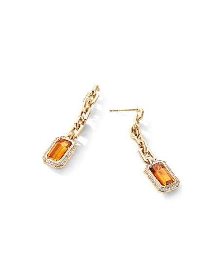 David Yurman Novella 18k Gold Citrine Drop Earrings w/ Diamonds
