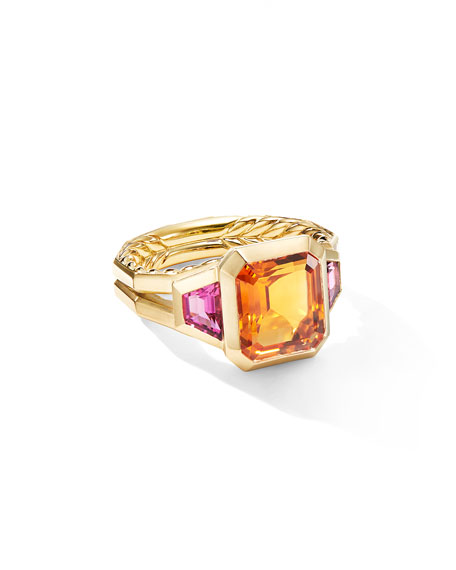 David Yurman NOVELLA 18K 3-STONE RING W/ CITRINE & RUBELLITE