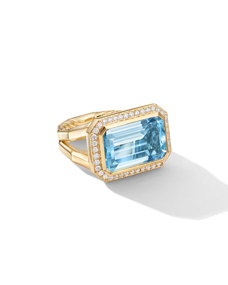 David Yurman Novella 18k Gold 16mm Blue Topaz Ring w/ Diamonds, Size 7