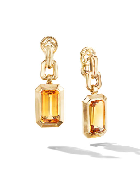 David Yurman Novella 18k Gold 19mm Citrine Drop Earrings