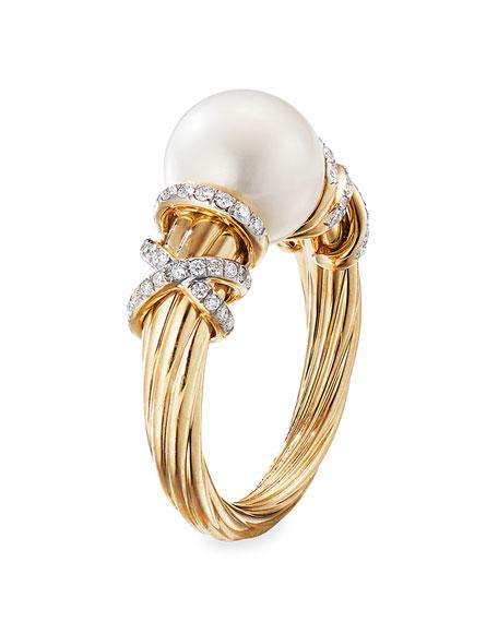 David Yurman Helena 18k Pearl & Diamond Ring, Size 7