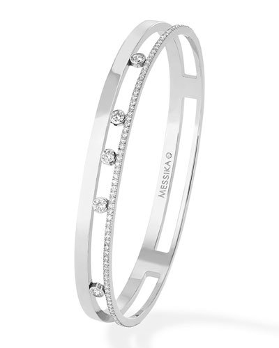 Move Romane 18k White Gold 5-Diamond & Pave Bangle  Size M