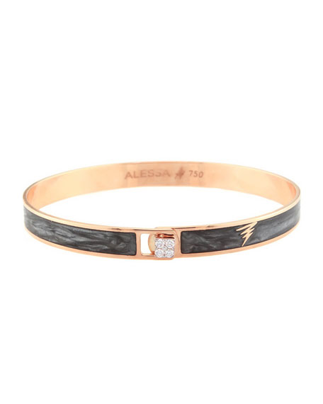 Alessa Jewelry Spectrum 18k Rose Gold Paint & Diamond Bangle, Black, Size 17
