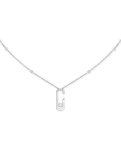 Move Addiction Diamond Bezel Necklace in 18K White Gold