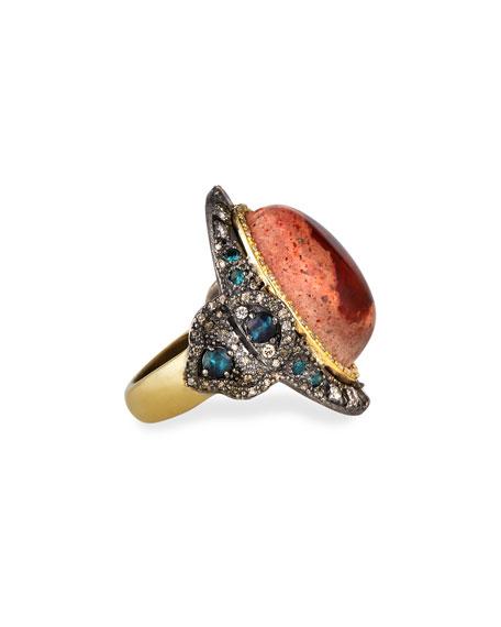 Armenta Old World Mexican Fire Opal Ring w/ Diamonds & Tourmaline