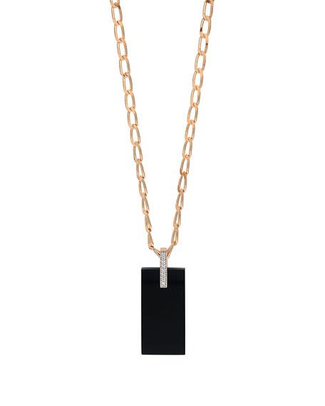 GINETTE NY 18k Rose Gold Onyx & Diamond Art Deco Necklace