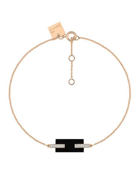 GINETTE NY 18k Rose Gold Mini Onyx & Diamond Art Deco Bracelet