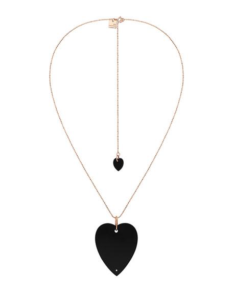 GINETTE NY 18k Rose Gold Angele Jumbo Onyx Heart Necklace