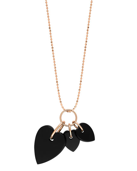 GINETTE NY 18k Rose Gold Angele 3-Onyx Heart Necklace