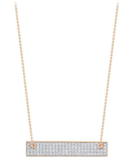 GINETTE NY 18k Rose Gold Mini Diamond Baguette Necklace