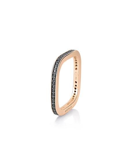 GINETTE NY TV 18k Rose Gold Black Diamond Ring, Size 7