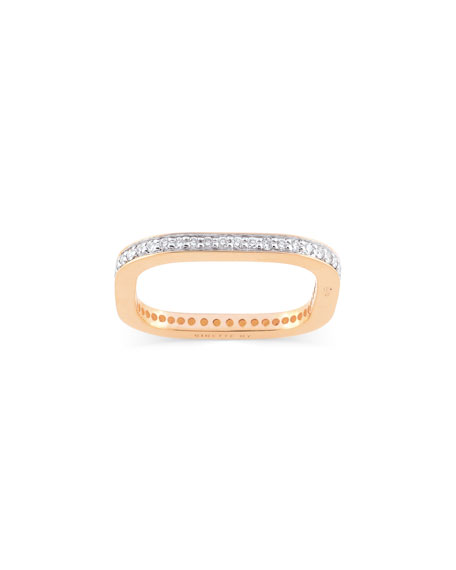 GINETTE NY TV 18k Rose Gold Diamond Ring, Size 7