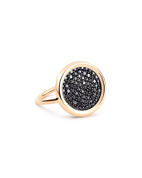 GINETTE NY 18k Rose Gold Baby Black Diamond Disc Ring, Size 5