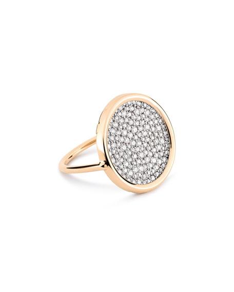 GINETTE NY Ever 18k Rose Gold White Diamond Disc Ring, Size 5.5