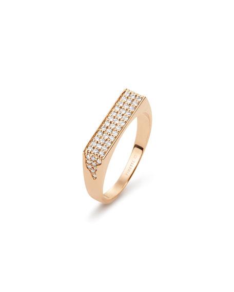 GINETTE NY 18k Rose Gold Diamond Signet Ring, Size 6.5