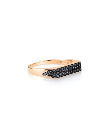 GINETTE NY 18k Rose Gold Black Diamond Signet Ring, Size 7.5