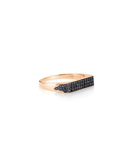 GINETTE NY 18k Rose Gold Black Diamond Signet Ring, Size 8
