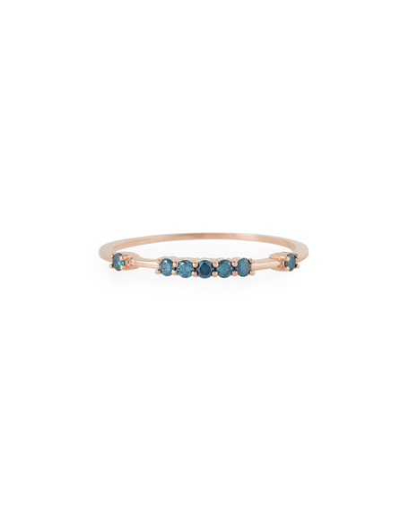 Image 1 of 2: Stevie Wren Misfit 14k Rose Gold Raised Blue Diamond Stacking Band, Size 7