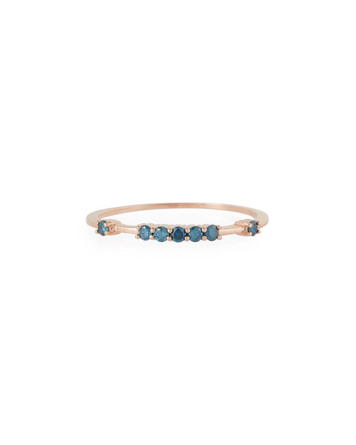 Stevie Wren Misfit 14k Rose Gold Raised Blue Diamond Stacking Band, Size 7