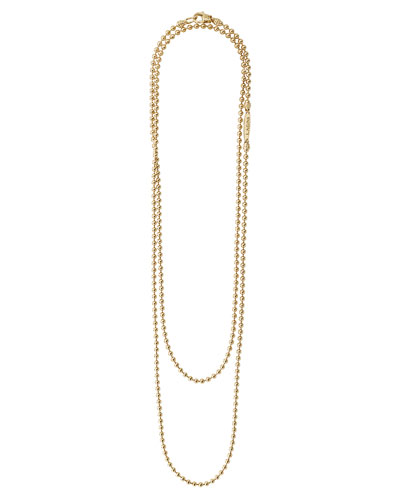 Caviar 18K Gold Long 2.5mm Ball-Chain Necklace