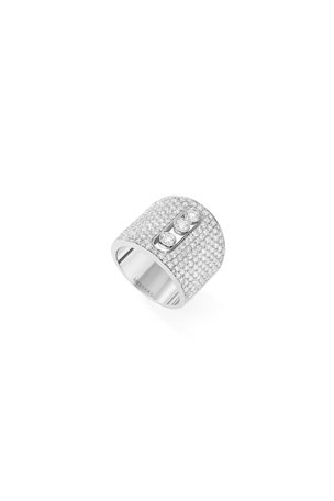 Messika Move Joaillerie White Gold Pave Large Ring