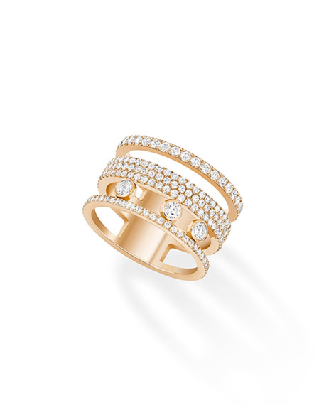Messika Move Romane Pave 18k Rose Gold Ring, Size 7