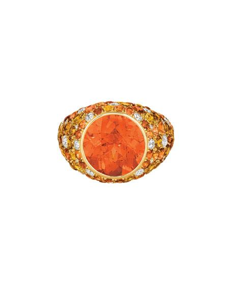 Eclat Jewels 18k Yellow Gold Mandarin Garnet Ring w/ Diamonds & Sapphires, Size 6.25